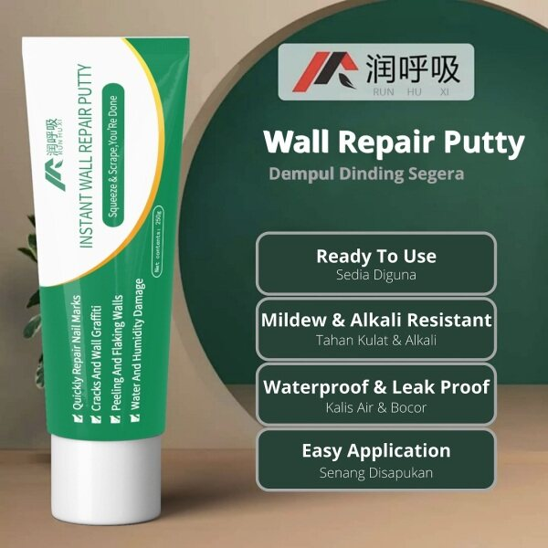 BRD Runhuxi Instant Wall Repair Putty 250g for Instant Wall Repair Filler Batu Plaster Partition White