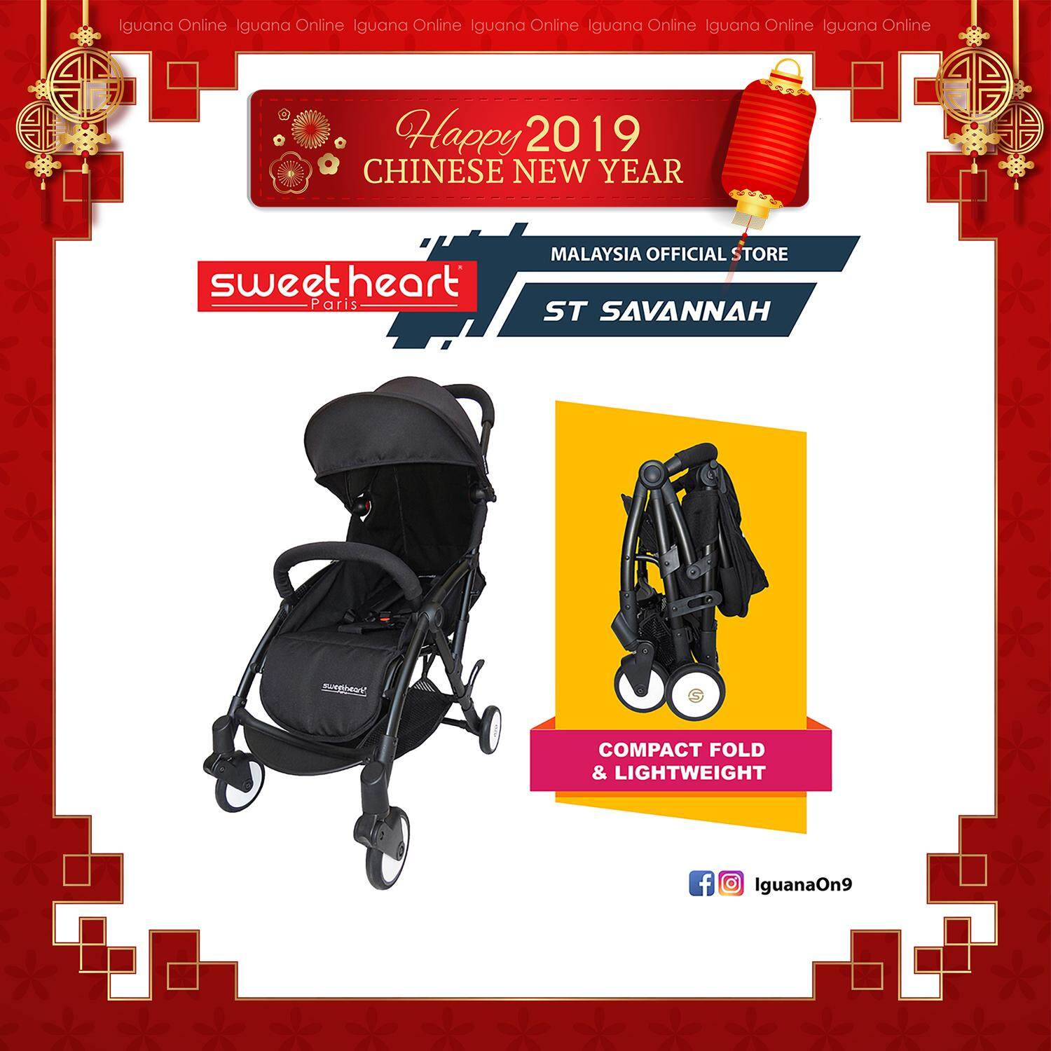 Sweet Heart Paris Compact Stroller SAVANNAH (Nero Black) with Free Travel Bag