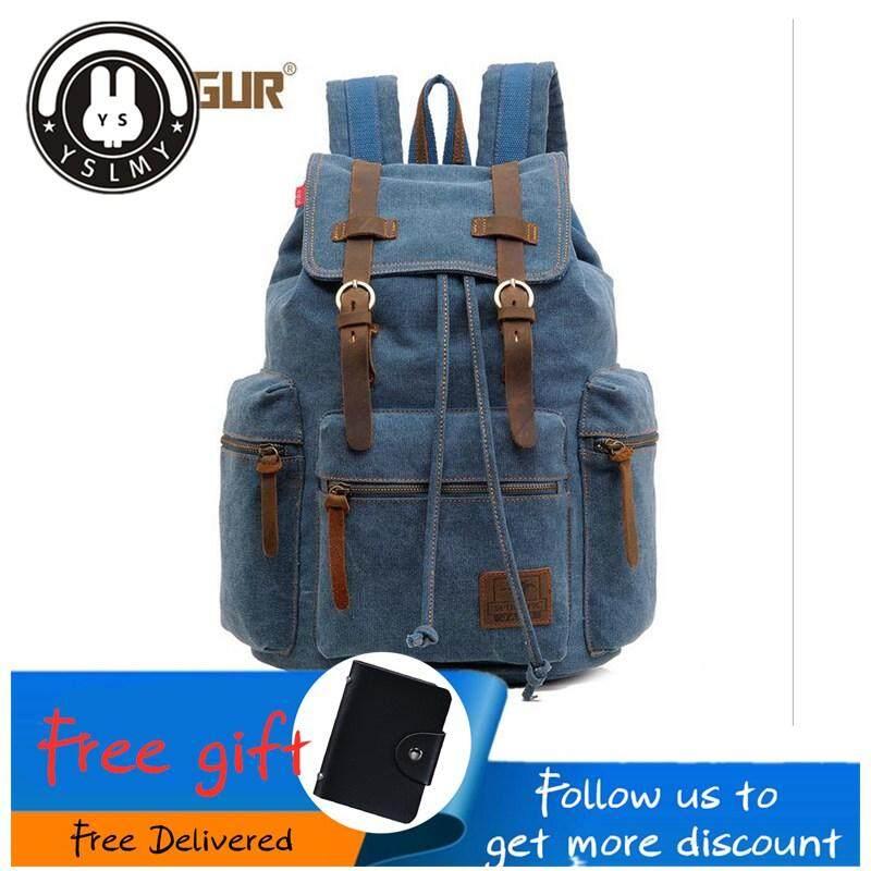 3e215d8a3e2fe YSLMY 2018 new YBC Men Vintage Canvas Backpack Rucksack Hiking Bag School  Bag travel bag man