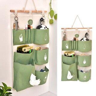 Túi treo tường với 6 ngăn bằng vải cotton đựng đồ dùng, chống thấm nước (Sản phẩm có nhiều phiên bản lựa chọn, vui lòng chọn đúng sản phẩm cần mua) - INTL thumbnail