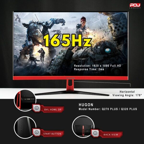Hugon 32 inch Curved 1800R 165Hz 2MS Full HD 1080P LED Gaming Monitor / Edge-Less AMD FreeSync Malaysia
