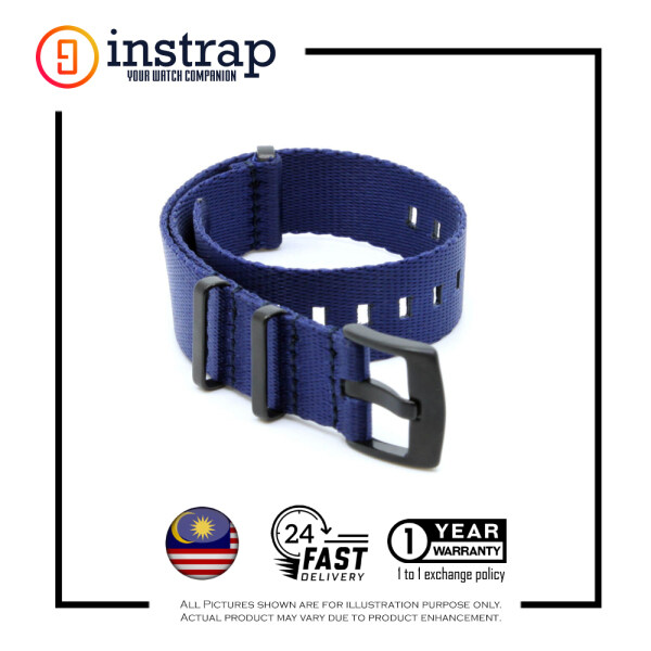 [22mm] Instrap Premium Nato Strap Watch Band with Black Buckle (NavyBlue) Malaysia