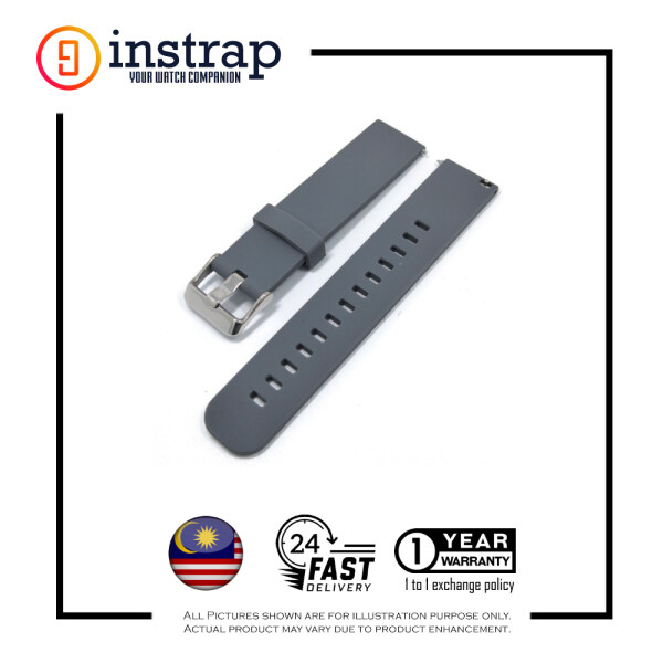 [22mm] Instrap Plain Premium Rubber Strap Watch Band (Grey) Malaysia
