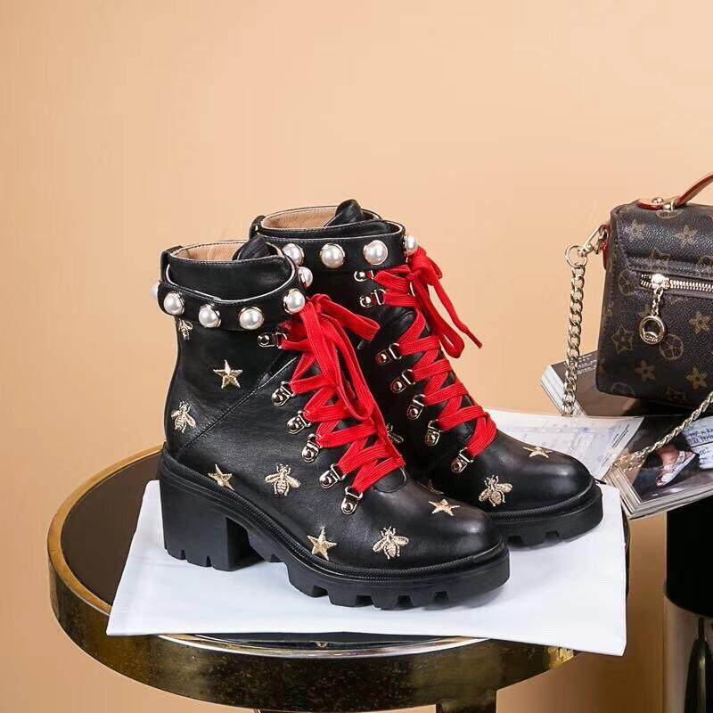 4b948550f Gucci Martin boots.Cowhide vintage Martin boots Gucci lace-up women's boots .Fashionable