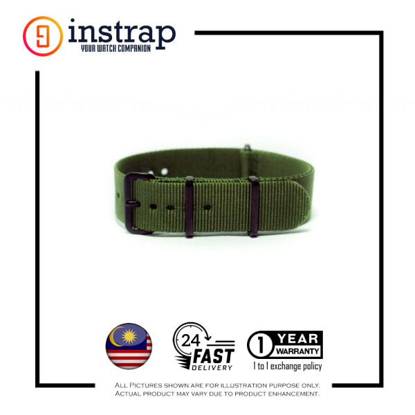 [20mm] Instrap Nato Strap Signature Classic Watch Band PVD Black Buckle (Green) Malaysia
