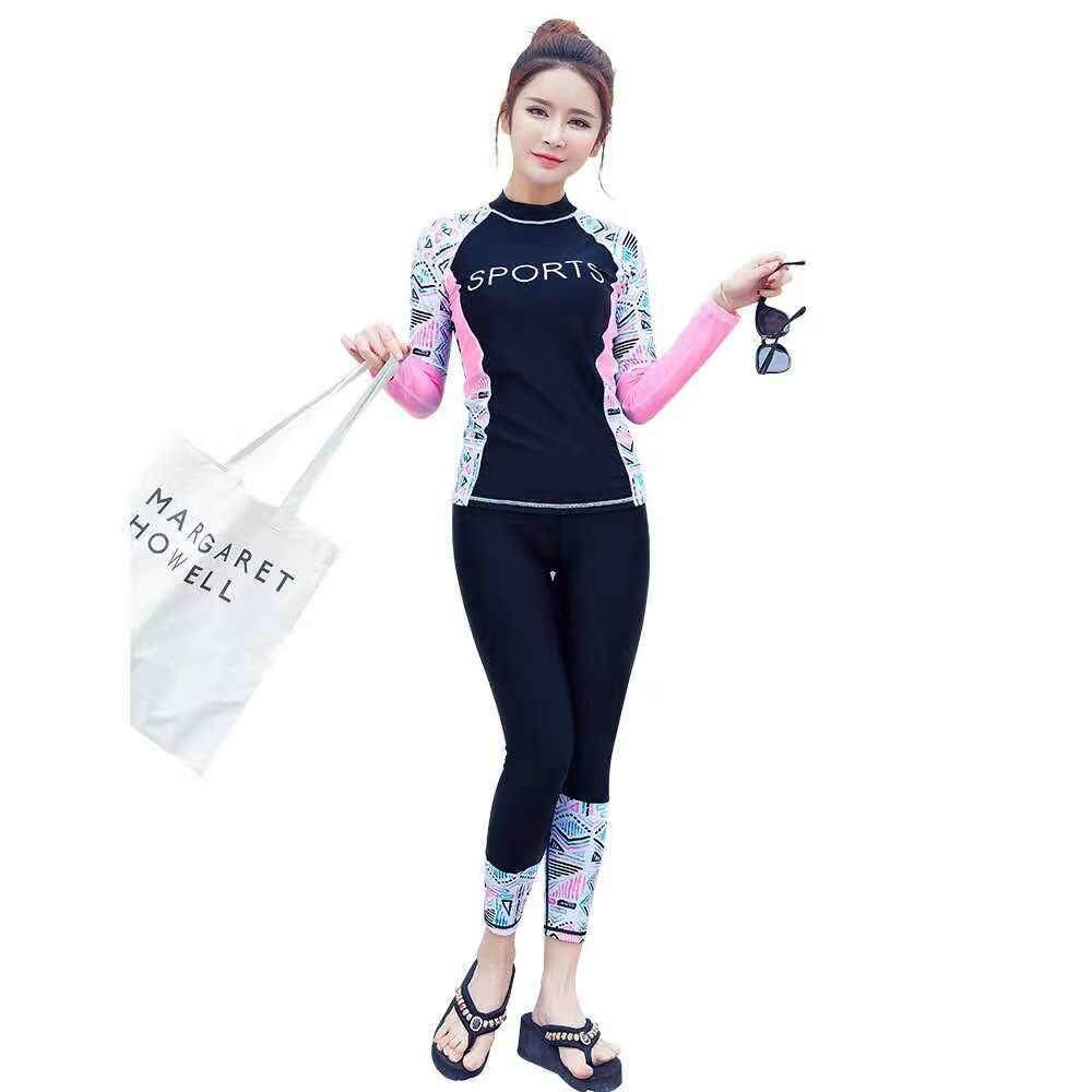 62caeee799970 Women Pink Long Sleeve Rashguard Tops with Black Swimming Pants Diving Suit  Swimsuit Swimwear Surfwear Sun
