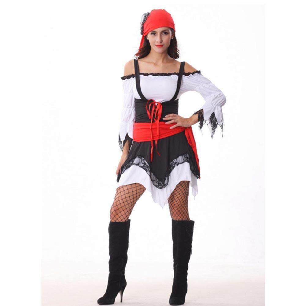 Sexy Lingerie Cosplay Halloween Pirate Costume Set Dress With Scarf