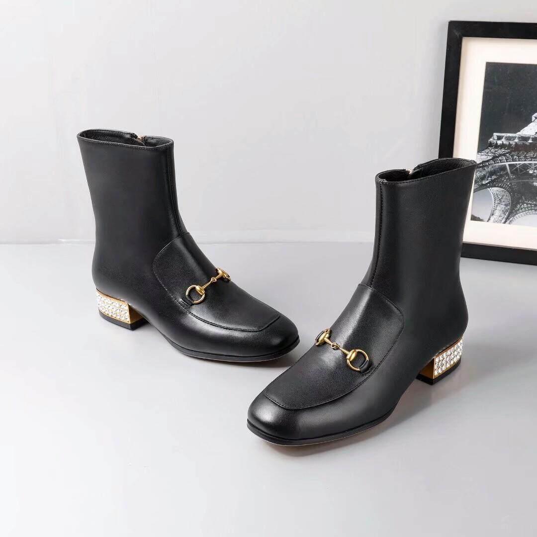 c490e79e340 Gucci 18 autumn winter water diamond heel side zipper hooves buckle short  tube boots women s