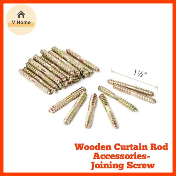 VHOME READY STOCK Joining Screw Wooden Curtain Rod 28mm/ Rod Langsir 28mm Skru Penyambung Kayu Langsir 10PCS (Accessories)