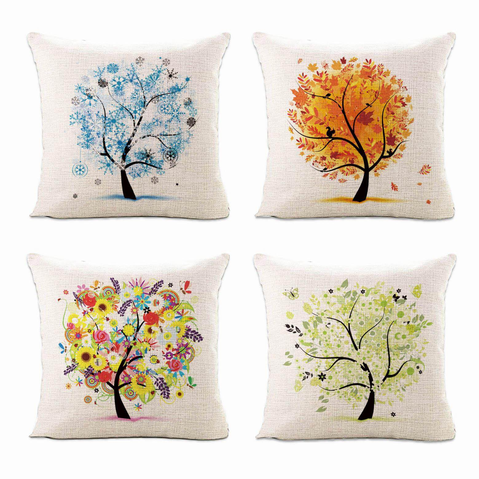 Geometric Pattern Linen Cotton Cushion Sleeve Home Sofa Art Decoration Outdoor Casual Pillow Cafe Car Pillow 45x45cm Fashion Easy To Lubricate Home & Garden