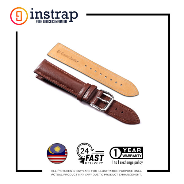 [24mm] Instrap Premium Calf Leather Italian Padded Watch Strap Watch Band (Brown) Malaysia