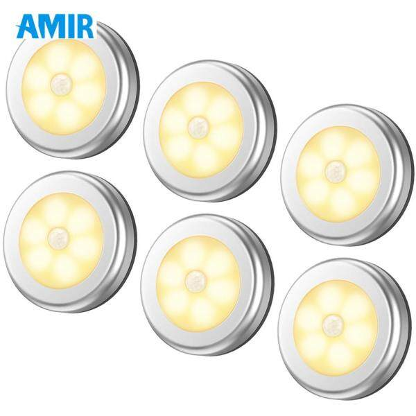 AMIR 6PCS Motion Sensor Lights Battery Powered Wireless LED Night Lights Stick On Stair Wall Lights for Hallway Bathroom Bedroom Kitchen