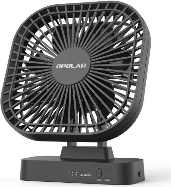 OPOLAR AA Battery Operated Fan,Portable Battery-Powered Desk Fan,7-Blade Design,90-Degrees Adjustable Head, Indoor and Outdoor Use