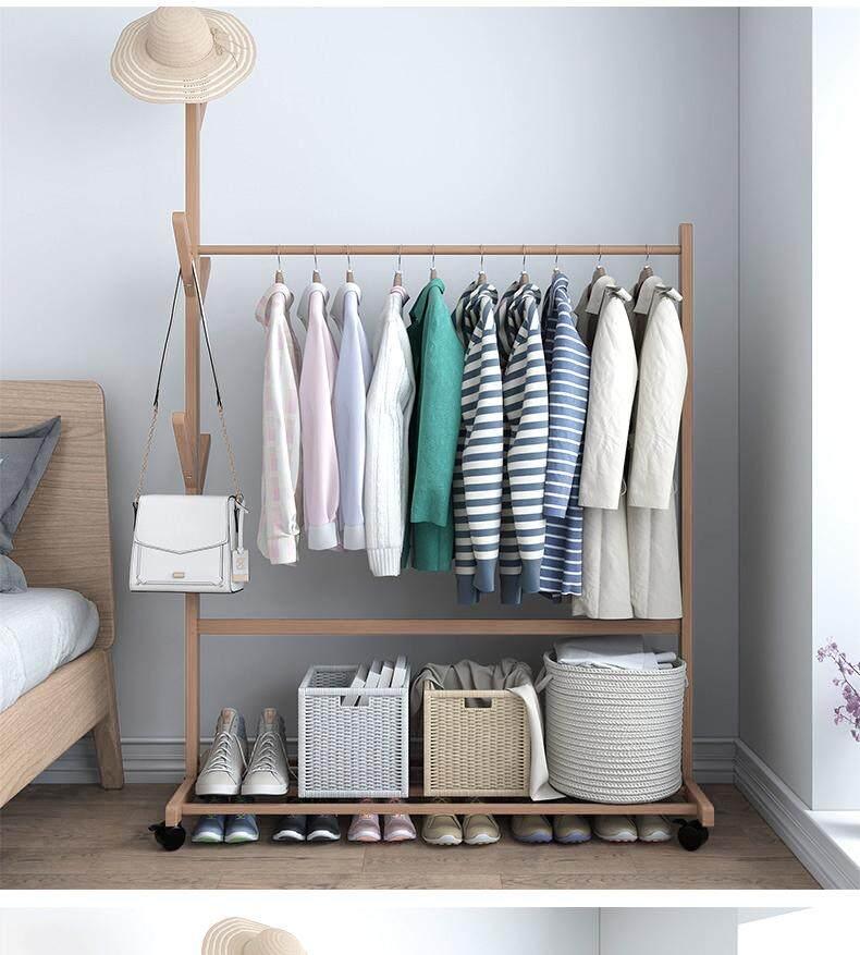Simple Creative Coat Rack Solid Wood Floor Bedroom Simple Hanger Landing Hanger Simple Modern Clothes Shelf
