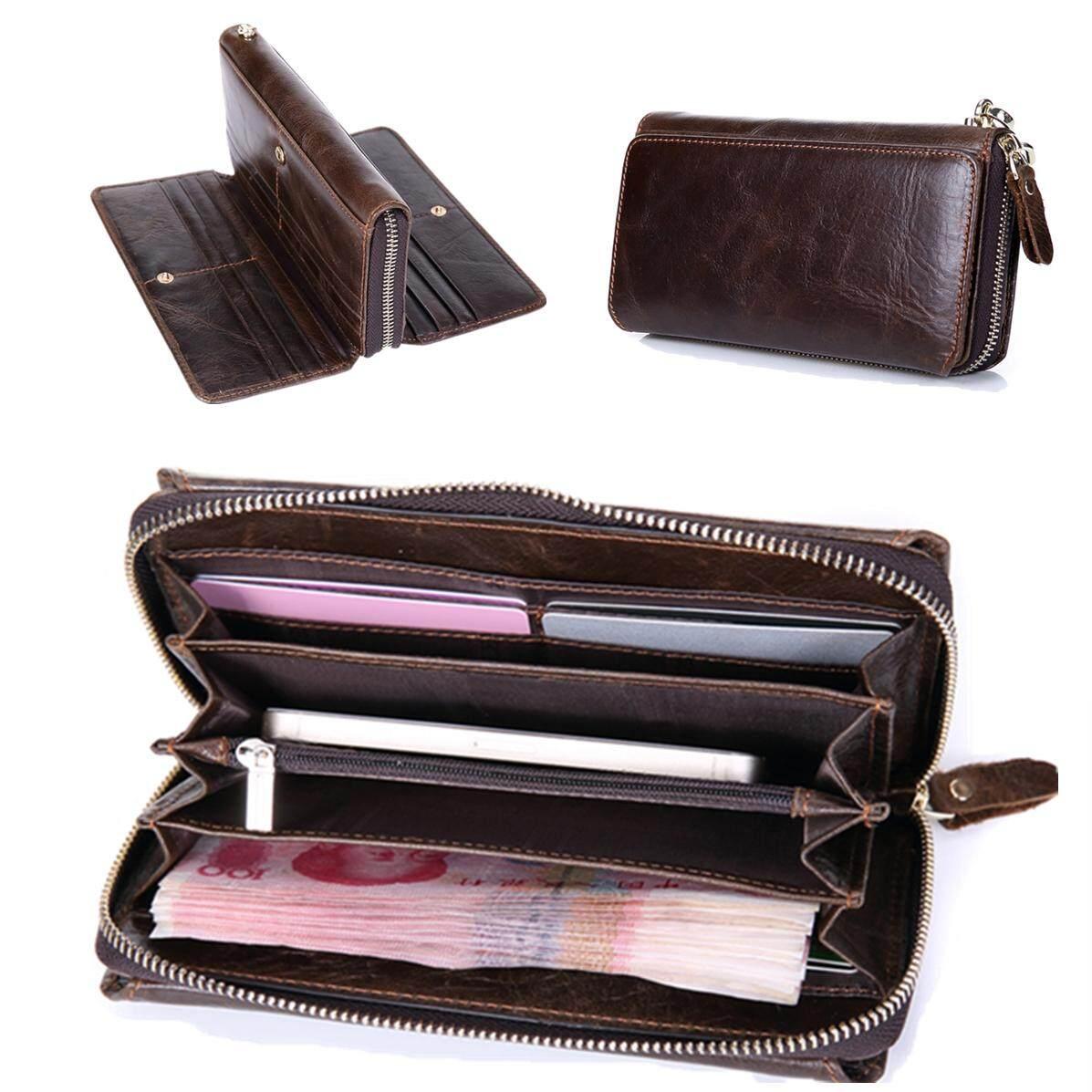 Genuine Leather Men Long Wallet Business Hasp Clutch Organizer Wallets Slim Coin Purse Card Holder Male Phone Pocket