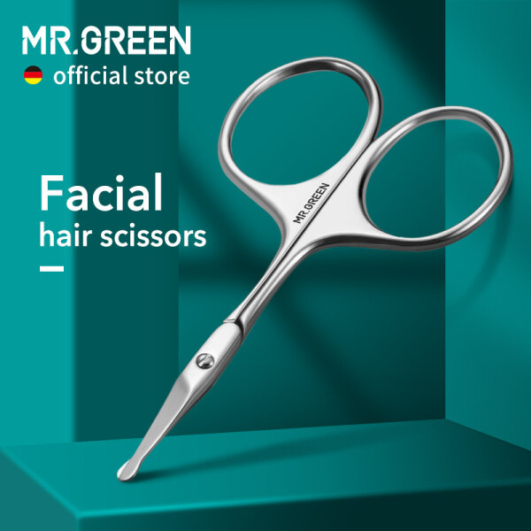 Buy MR.GREEN Facial Hair Scissor Rounded Professional Stainless Steel Mustache Nose Hair Beard Eyebrows Eyelashes Trimming Clippers Singapore