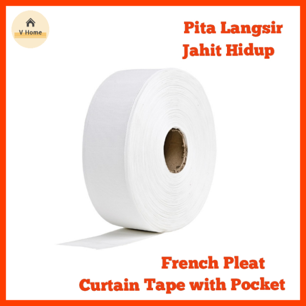 VHOME READY STOCK Curtain White Tape with Pockets (Highest Grade) / Fench Pleat / Hidup Pleat Tap / Pita Tape Langsir (Tebal)