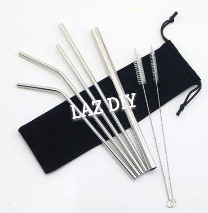 【7pcs Set】304 Stainless Steel Straw Group Ice Blaster Cup Stainless Steel Straw Metal Drinking Straw Tea Straw Reusable Straw 7 Into Group Bag Set Straw By Laz Diy.