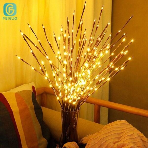 FEIGUO Đèn LED Màu Nhánh Mô Phỏng 70CM 20 Ins Bắc Âu 1/3/5 Cái Đèn Nhánh, Đèn Ngủ Nhỏ Sáng Tạo Bố Trí Phòng