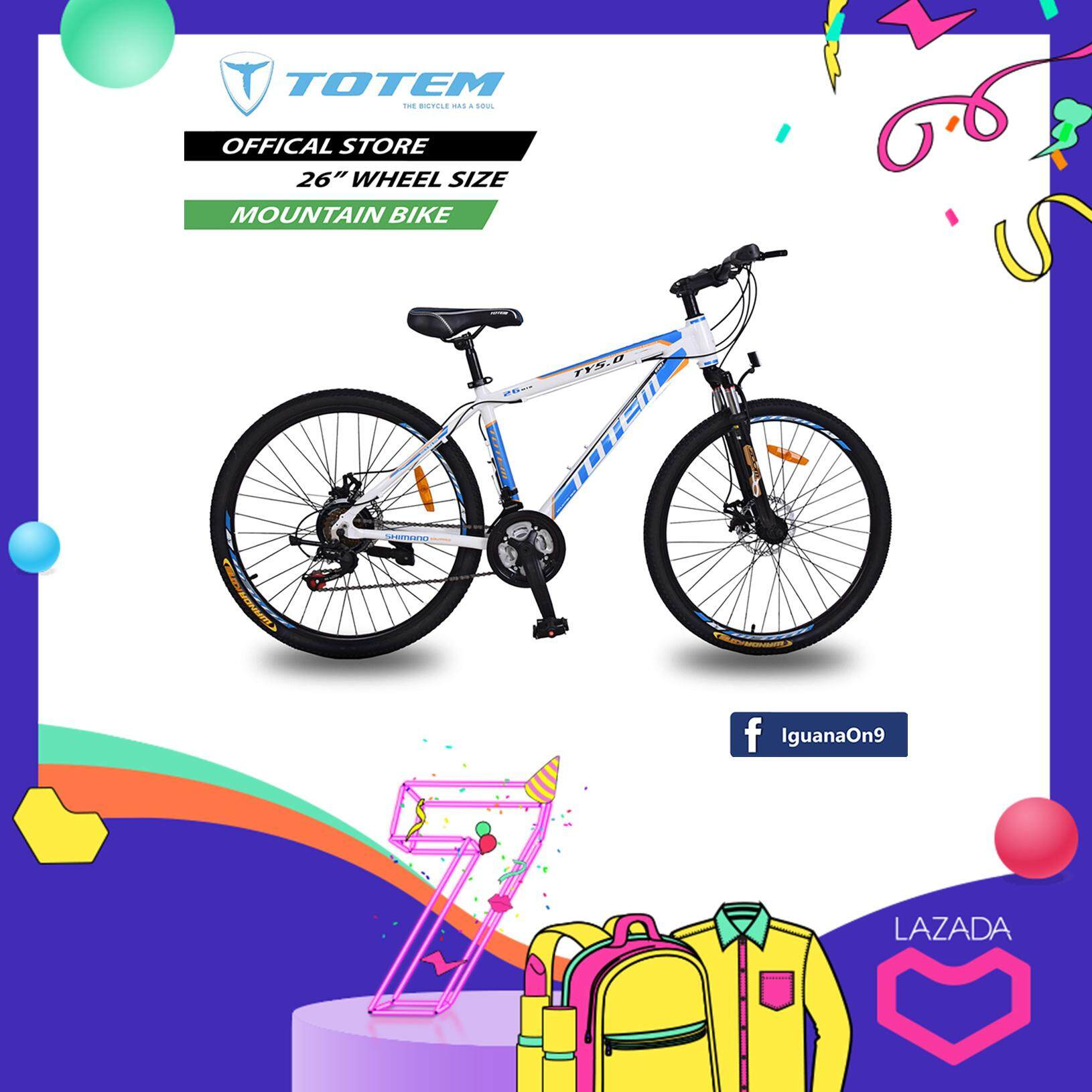 """TOTEM 26"""" TY5.0 Alloy Mountain Bike Bicycle (New Blue White) with SHIMANO equipped"""