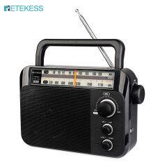 Đài Phát Thanh AM FM TR604 Retekess, Đài Bán Dẫn Analog Xách Tay Có Giắc Cắm Tai Nghe 3.5Mm Chạy Bằng Pin 3 D Hoặc Nguồn Điện Xoay Chiều (Màu Đen)