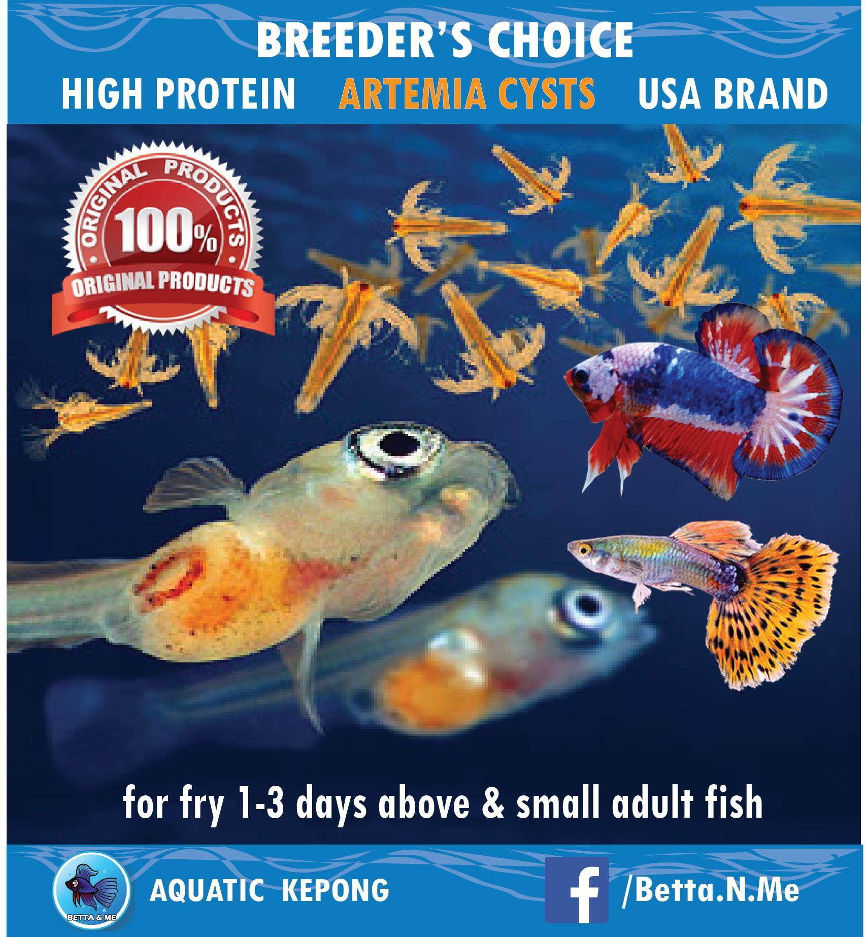 USA ARTEMIA CYSTS / BABY BRINE SHRIMP EGGS (BBS) FOR FRY 1-3 DAYS ABOVE &  SMALL FISH LIKE GUPPY, BETTA & ETC