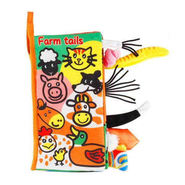 Baby Early Learning Education Books Toys Infant Soft Fabric Cloth Book Toddler Touch and Feel Development Activity Book to Learn Farm Animals with Tail Decor