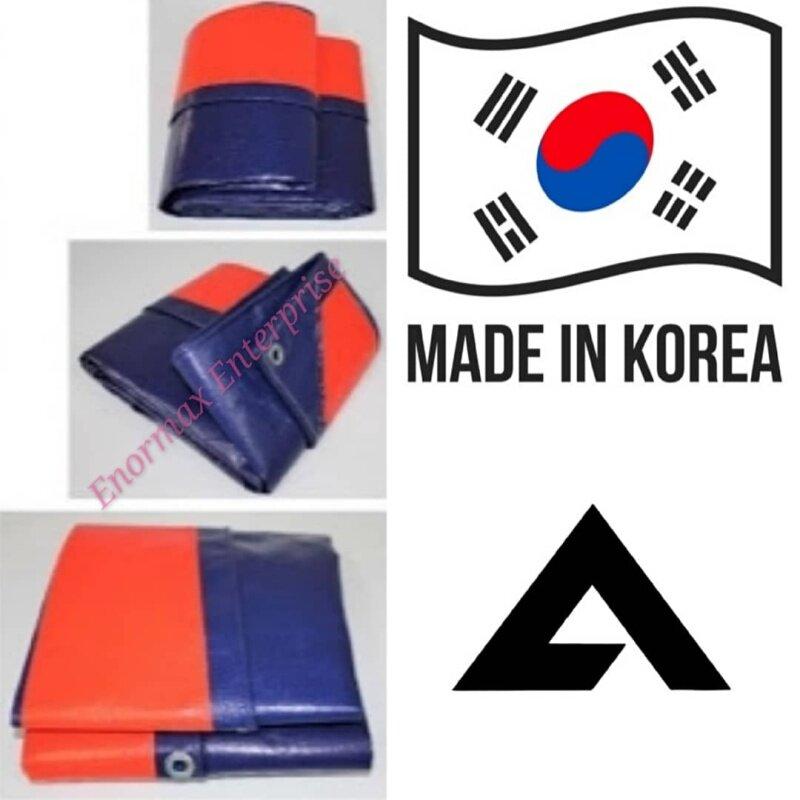 Korea 9ft X 15ft Blue Orange PE Tarpaulin Canvas Sheet 1414