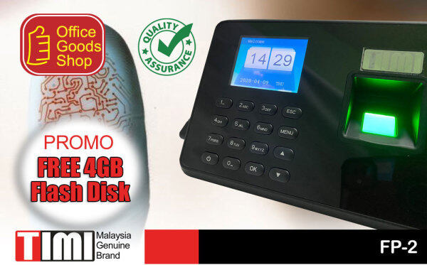 Fingerprint Time Attendance TIMI FP 2 Mesin Thumbprint Cap Jari Kedatangan USB Dowload No Software Promo FREE 4GB Flash DISK
