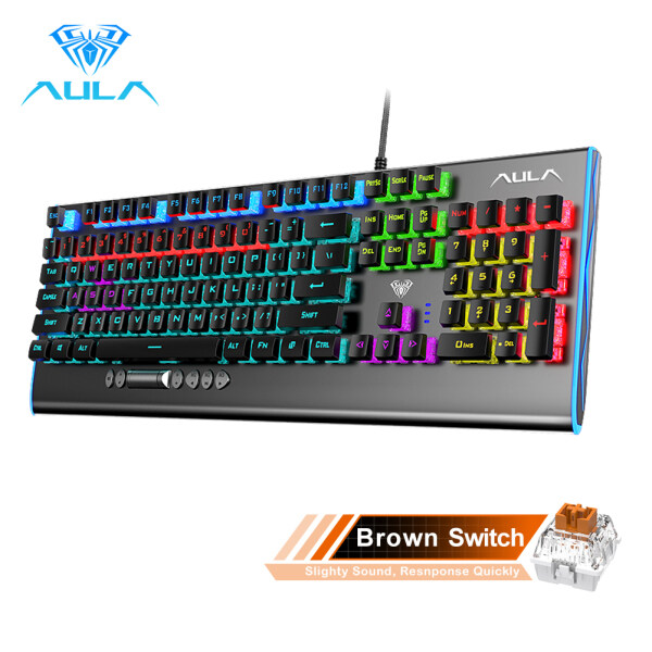 AULA F2099 Wired Mechanical Gaming Keyboard Crystal Switch Multimedia Button, Full Keys Anti-ghosting Marco Programming Metal Panel Wired LED Backlit Keyboard for PC Gamer Singapore