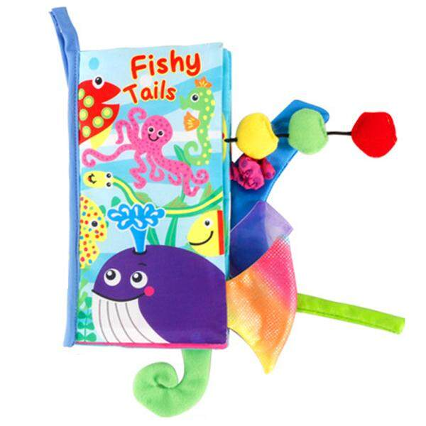 Baby Toys Infant Soft Fabric Cloth Book Toddler Touch and Feel Development Activity Book to Learn Fish with Tail Decor