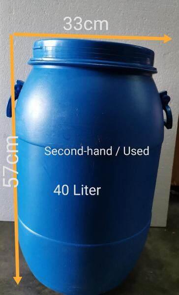 40Liter Tong Biru Plastic/Tong Air Bertangkai /Blue Drum Plastic