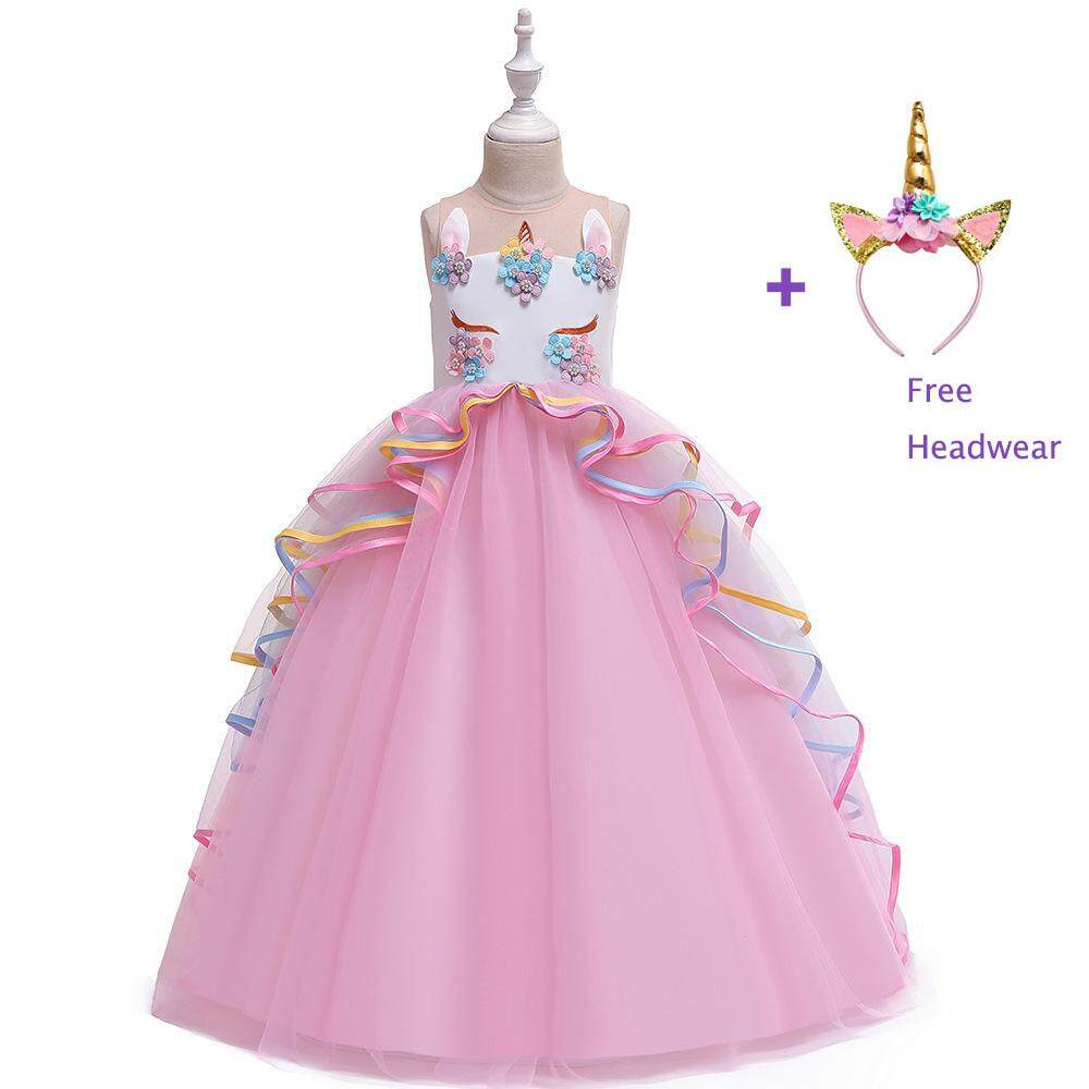 9ba857d094 Baby Girl Bow Gowns sleeveless unicorn Formal lace embroidery Cute Party  Mesh Long Dress pearl Princess Kids Teenage girls clothing
