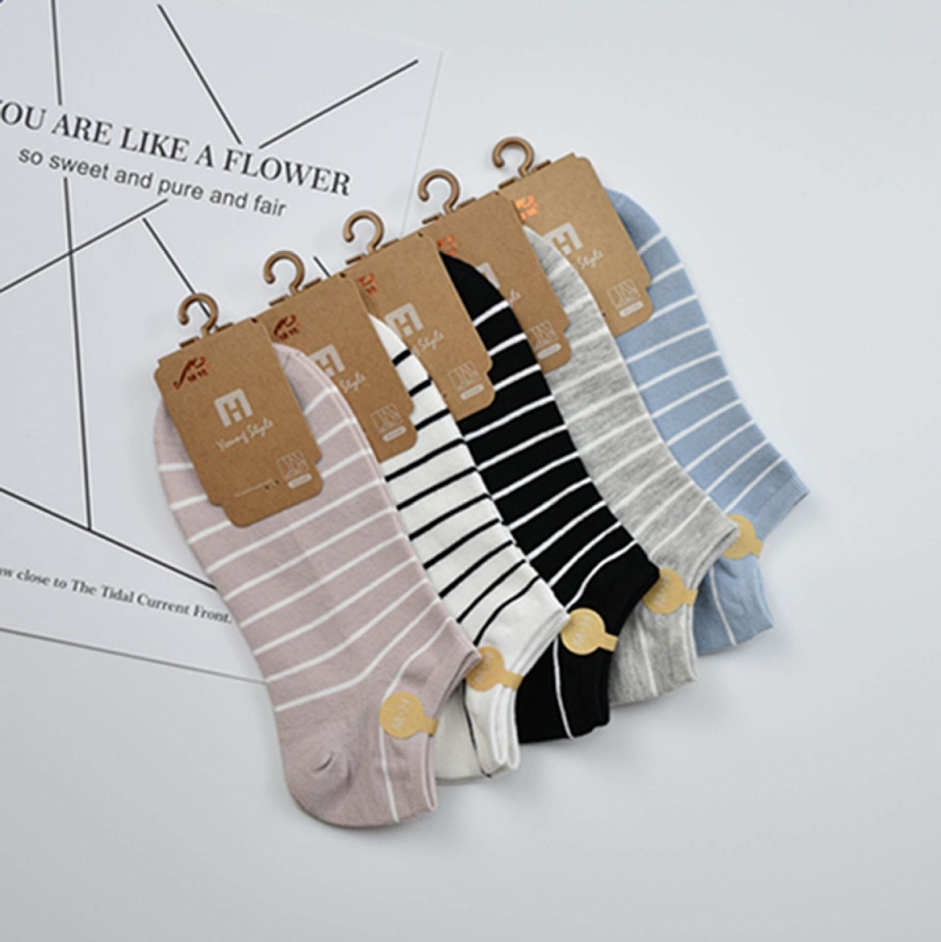 858a56deb51 Comfort Life (5 Pairs) Stripe Pure Cotton Socks Women Girls Lady Summer  Socks
