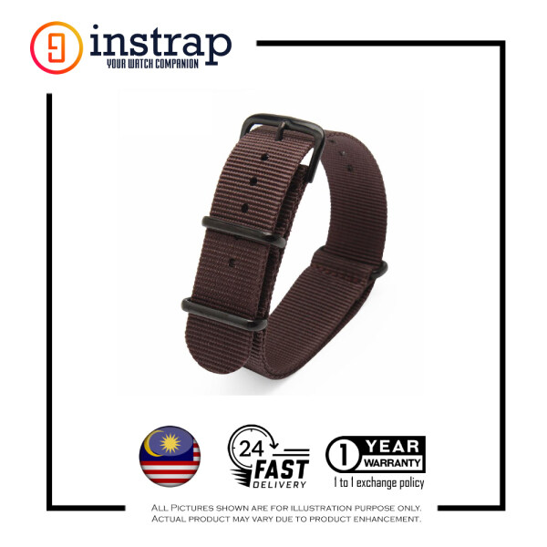[18mm] Instrap Nato Strap Signature Classic Watch Band PVD Black Buckle (Brown) Malaysia