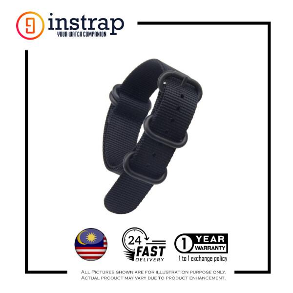 [20mm] Instrap Zulu Strap Signature Classic Watch Band PVD Black Buckle (Black) Malaysia