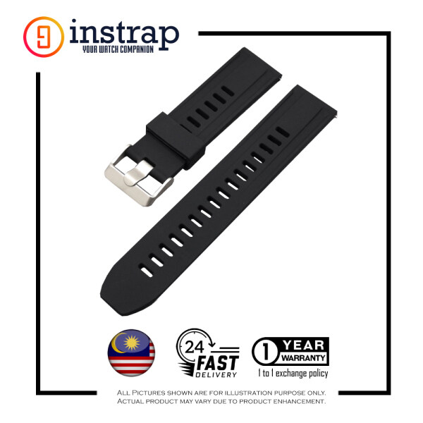 [18mm] Instrap Silicon Rubber Stripe Watch Band Brushed Buckle (Black) Malaysia