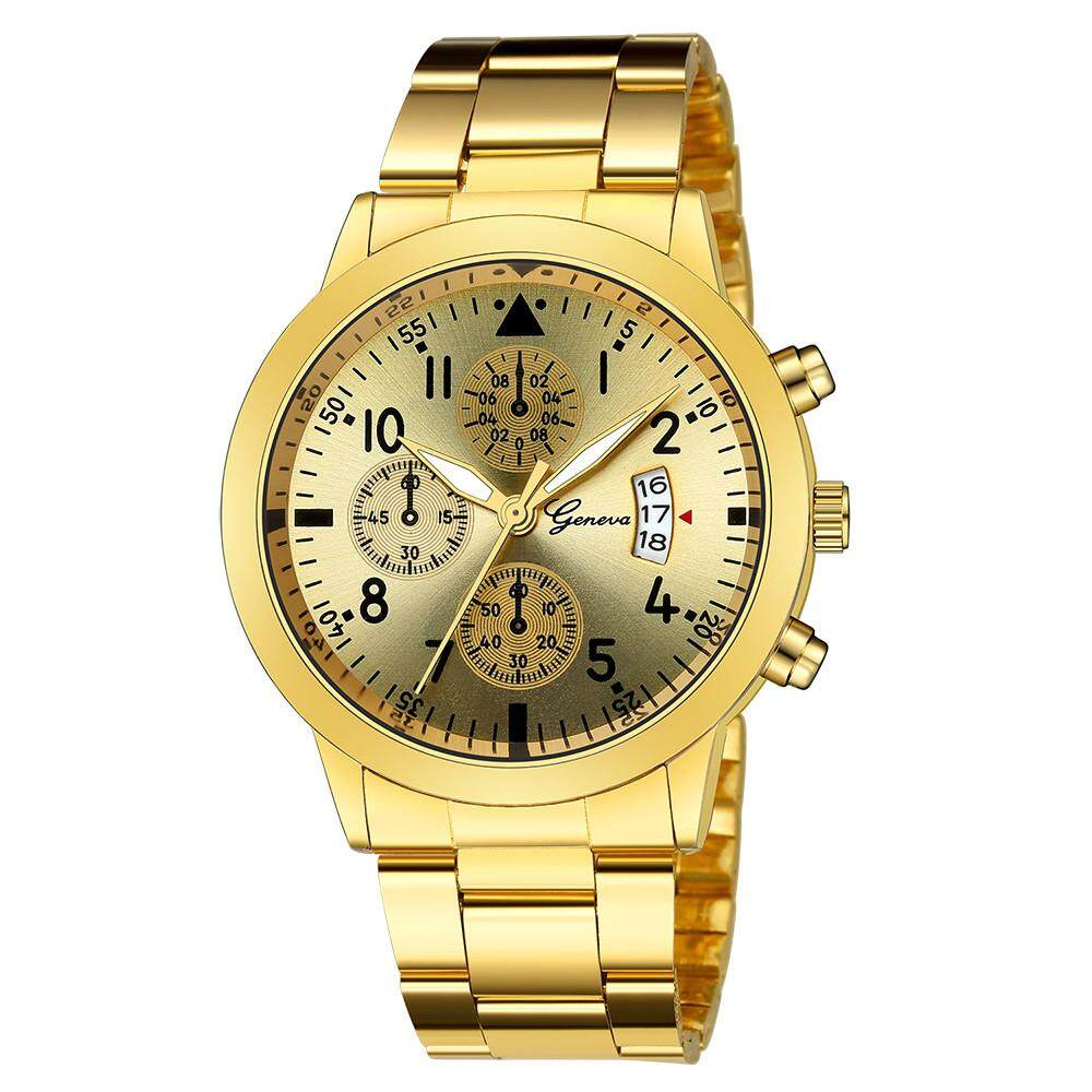 Luxury Quartz Sport Military Stainless Steel Dial Leather Band Wrist Watch Leather Watch For Men Malaysia