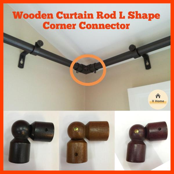 VHOME READY STOCK Wooden L Shape Connector/Sudut Penyambung Joiner L Shape- For Wooden Curtain Rod 28mm Rod Langsir 28mm (Curtain Accessories/Aksesori Langsir)