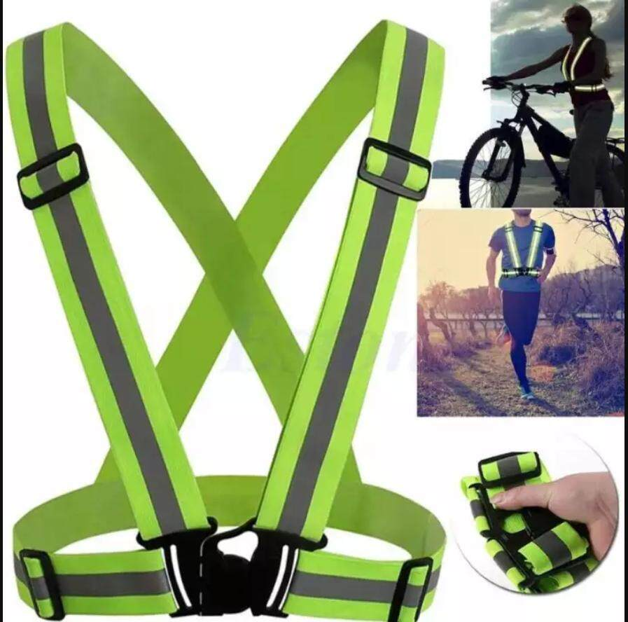 [ Malaysia Stock ] Outdoor Running Cycling Motorcycle Elastic Reflective Vest Harness Safety