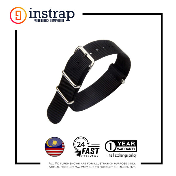 [22mm] Instrap Nato Strap Signature Classic Watch Band Silver Buckle (Black) Malaysia