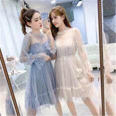 Đầm Ren Nữ Phong Cách Hàn Quốc Mặc Hàng Ngày Độ Dài Vừa Đính Kim Sa Kiểu Dáng Công Chúa Dành Cho Sinh Viên Hay Phụ Nữ Trẻ Trung