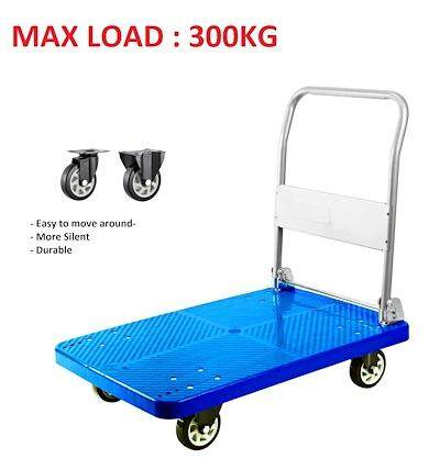 300kg Foldable PVC Platform Hand Truck Folding Trolley With 4 Silent PU Wheels