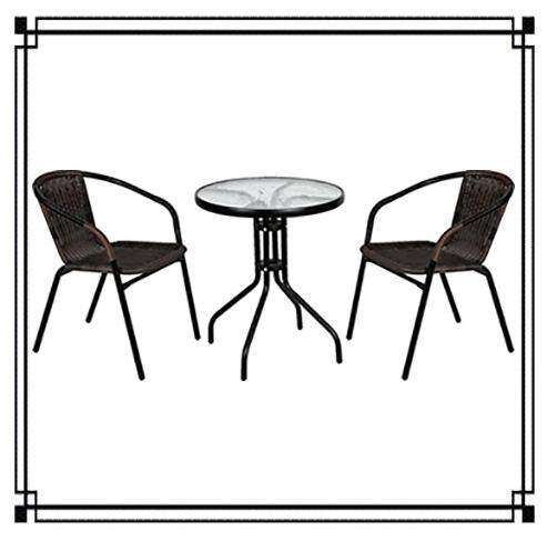 Okura Outdoor Garden Set Table & Chairs 2 Chairs + 1 Table (black/brown) By Okura.