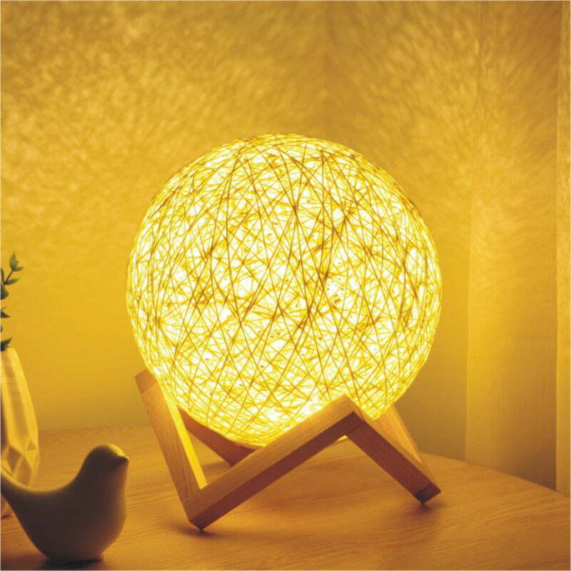Romantic Night Light Creative INS Wind Starry Table lamp Bedroom Bedside lamp Fantasy Rattan Ball Moon Light Light Yellow, Button Switch