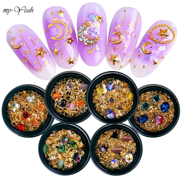Bộ trang trí Myyeah gồm đinh tán/ kim cương giả/ mảnh kim loại dạng rỗng nhiều kiểu họa tiết dùng để trang trí móng nghệ thuật, có 6 kiểu để lựa chọn (trọng lượng 14g) - INTL