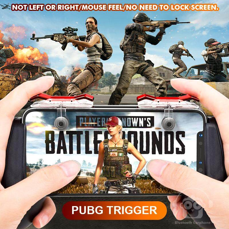 Pubg Mobile Phone Gaming Trigger Fire Button For L1r1 Shooter Controller Pubg E9 Gamepad Red Silver By Mlkccbatch341.