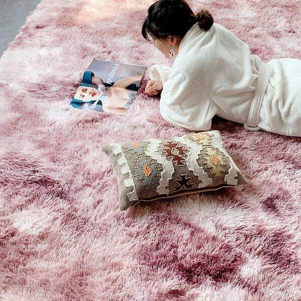80*200 100*160 100*200CM Deluxe Soft Faux Sheepskin Shaggy Area Floor Rugs Children Play Carpet Square for Living & Bedroom Sofa Nordic INS Mottled Tie-dyeing Gradient