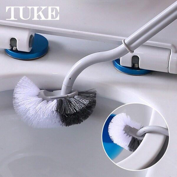 TUKE 1 Cái Bàn Chải Bồn Cầu Chết Góc Khử Trùng Làm Sạch Hai Mặt Cong Bàn Chải Nhựa Nhà Vệ Sinh Phòng Tắm Bàn Chải Có Tay Cầm Dài