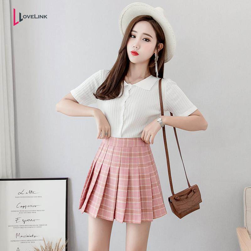 c1511301d371 Lovelink Women's high waist A-Line pleated skirts with safety pant plaid  school uniform Korea